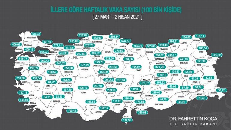 Harita yenilendi: İllerde son durum